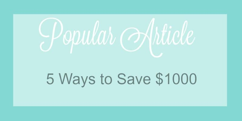 5 Ways to Save $1000