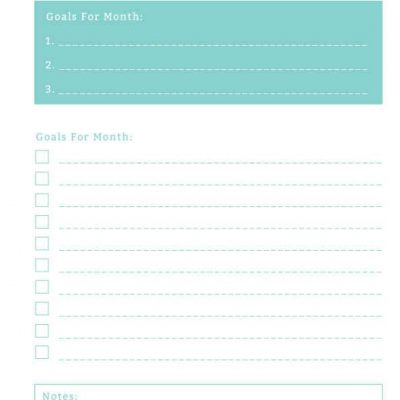 Monthly Financial Goals
